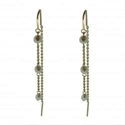 Aretes Colgante de Oro 18K con perlas cultivadas