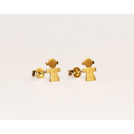 comprar popular 62dc2 f6b26 Aretes Niña en Oro 18K pulido y satinado. Broche mariposa.
