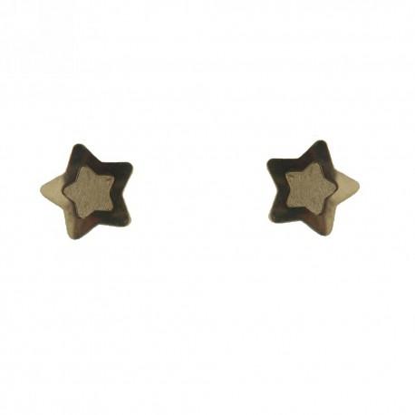 992bc61dc5b0 Arete Estrella de oro 18K Pulida y Satinada. Tapa tipo broquel.