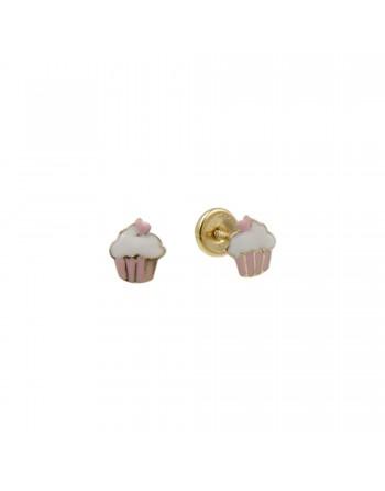 Aretes Cupcake en Oro 18K y...