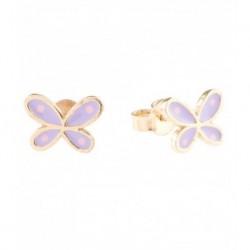 Aretes Mariposa en Oro 18K y esmalte lila. Broche tipo mariposa.